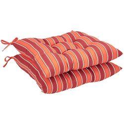 AmazonBasics Square Seat Patio Cushion, Set of 2- Red Stripes
