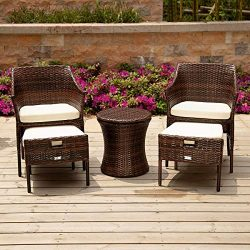PAMAPIC 5 Pieces Outdoor Wicker Patio Furniture Sets, All-Weather Wicker Chairs with Ottoman, Pa ...