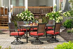 Hanover Mercer 7-Piece Outdoor Patio Dining Set with Red Cushions, Swivel Rockers and Rectangula ...