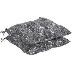 AmazonBasics Square Seat Patio Cushion, Set of 2- Black Floral