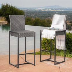 Conrad Patio Furniture Outdoor Wicker Bar Stools (Set of 2) (Grey)