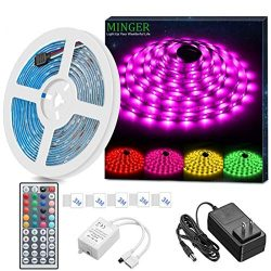 MINGER LED Strip Light Waterproof 16.4ft RGB SMD 5050 LED Rope Lighting Color Changing Full Kit  ...