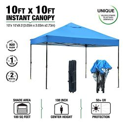 kdgarden Ez Pop Up Canopy Tent Outdoor Commercial Instant Shelter with Roller Carry Bag, 10 by 1 ...