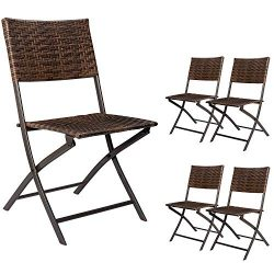 Devoko Rattan Patio Dining Chair 4 Pieces Space Saving Deck Camping Chairs Garden Pool Beach Law ...