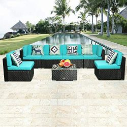eclife Outdoor Rattan Sofa 7 PCS Set Patio PE Wicker Black Sofa Couch Furniture Set Removable Cu ...