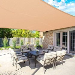 MOVTOTOP Sun Shade Sails 10×13 FT Rectangle, 185 GSM Thicker Outdoor Shade Block 95% UV Kee ...