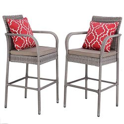 Do4U Set of 2 Patio Bar Stools All-Weather Wicker Outdoor Furniture Chair, Bar Chairs with Grey  ...