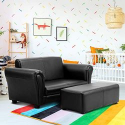 Costzon Kids Sofa Set 2 Seater Armrest Children Couch Lounge w/Footstool, ASTM and CPSIA Certifi ...