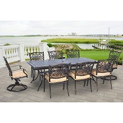 Hanover TRADDN9PCSW-2 Traditions 9-Piece Rust-Free Aluminum Patio Dining Set Outdoor Furniture, Tan