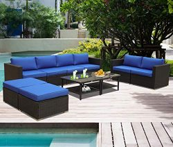 Patio Furniture Garden Rattan Sofa 10-Piece PE Rattan Royal Blue Cushion Outdoor Couch Outside C ...