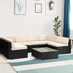 COACBEE Patio Furniture Sets 7 Pieces – Outdoor Rattan Sectional Sofa with Coffee Table an ...