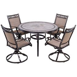dali Outdoor 5 Piece Dining Set Patio Furniture, Aluminum Swivel Rocker Chair Sling Chair Set wi ...