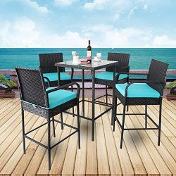 Leaptime Patio Furniture Bar Table and Stools Garden Dining Set (Black Rattan+Turquoise Cushion)
