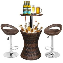 Super Deal 3in1 Outdoor Rattan Wicker Bar Table Included Cooler + 2 Hydraulic Pub Barstool All i ...