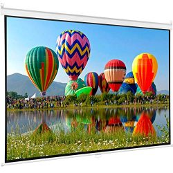 VIVO 100″ Projector Screen, 100 inch Diagonal 16:9 Projection HD Manual Pull Down Home The ...