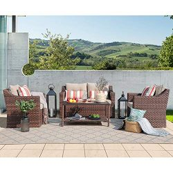 SUNSITT 4-Piece Patio Conversation Set All Weather Woven Brown Wicker Furniture Beige Cushions & ...