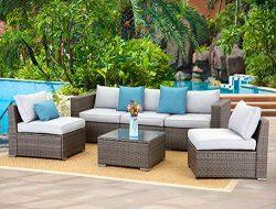 Wisteria Lane 6-Piece Outdoor Furniture Set Modular Wicker Patio Sectional Sofa Couch for Garden ...