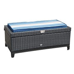 Orange Casual Outdoor 3 in 1 Resin Wicker Storage Bench Box with Seat Cushion, Aluminum Frame, B ...