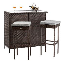 Bonnlo 3PCS Outdoor Wicker Bar Set with Stools and Glass Top Table for Lawn Pool Backyard Garden ...