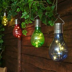 Waterproof Solar Powered Led Bulb Lights, Outdoor Garden Camping Hanging LED Light Lamp Bulb (On ...