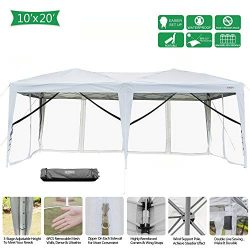 VINGLI 10x20ft Easy Pop Up Canopy Tent w/ 6 Removable Zippered Mesh Sidewalls & Portable Whe ...