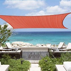 12'x16′ Rectangle Sun Shade Sail Canopy 185GSM Shade Sails UV Block for Patio Deck G ...