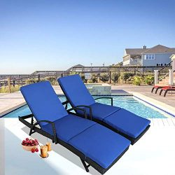 Patio Furniture PE Rattan Black Recliners Garden Chaise Lounge Set of 2 Outdoor Lounger w/Armres ...