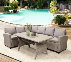 LZ LEISURE ZONE Patio Dining Table Set Outdoor Furniture PE Rattan Wicker Conversation Set All-W ...