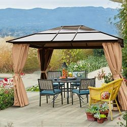 Barton 10′ x 12′ Hard Roof Outdoor Patio Gazebo Canopy Aluminum Poles Stand Backyard ...