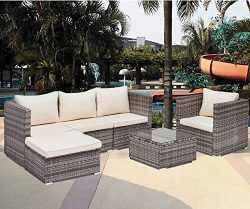 mecor Wicker Patio Furniture Set,6 Piece Outdoor Furniture Sectional Cushioned Sofa Set &Gla ...