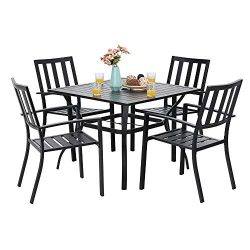 PHI VILLA 5 Piece Metal Patio Dining Set 37″ Square Patio Bistro Table and Garden Backyard ...