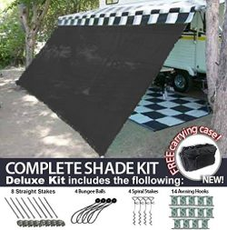 RV Awning Shade Motorhome Patio Sun Screen Complete Deluxe Kit (Black) ( 10'x20′)