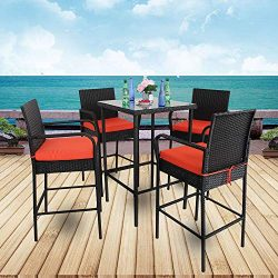 Leaptime Patio Rattan Bar Table and Stools Set Outdoor Garden Wicker Bar Set Easy Assembly-Black ...