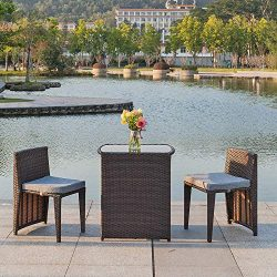 Bonnlo 3 PCS Outdoor Wicker Patio Set, Rattan Bistro Set with Glass Top Table Cushioned Chairs,  ...
