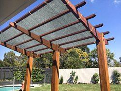 Ecover 90% Shade Cloth Grey Sunblock Fabric Rope UV Resistant Patio/Pergola/Canopy,12x16ft