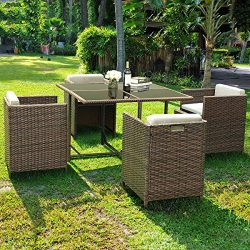 Tangkula Patio Furniture Outdoor Wicker Rattan Dining Set Cushioned Seat Garden Sectional Conver ...