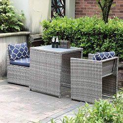 OC Orange-Casual 3-Piece Outdoor Conversation Set Wicker Patio Furniture Bistro Set with Glass T ...
