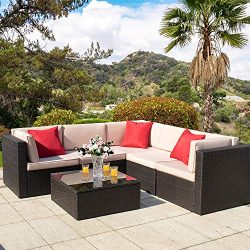Homall 6 Pieces Outdoor Furniture Patio Sectional Sofa Sets All Weather PE Rattan Manual Wicker  ...