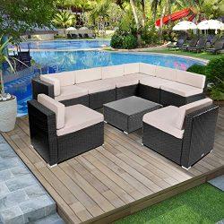 Esright 9 Pieces Patio PE Rattan Wicker Sofa Sectional Furniture (Black)