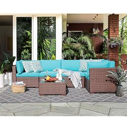 6 Pcs Wicker Patio Furniture Outdoor Sectional Conversation Set Sofa, Brown Wicker with Turquois ...