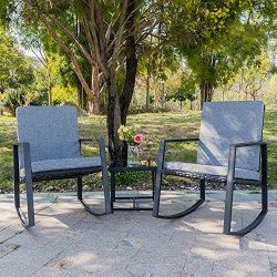 Bonnlo 3 Piece Rocking Wicker Patio Set, Outdoor Bistro Set Furniture, Patio Conversation Set Ra ...