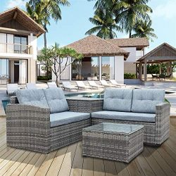 4 Pcs Patio Sofa Set Outdoor Wicker Rattan Furniture Conversation Set with Storage Cabinet and C ...