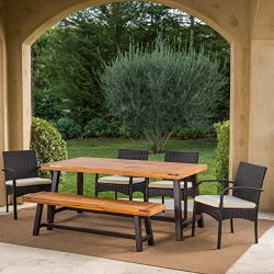 Great Deal Furniture Beryl Outdoor 6 Piece Rustic Metal Iron and Sandblast Finished Acacia Wood  ...