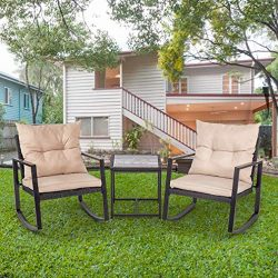 FDW Outdoor Bistro 3 Piece Patio Rocking Chair Wicker Conversation Set for Porch Poolside Lawn B ...