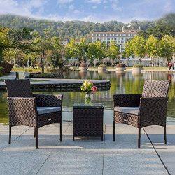 Bonnlo 3pc Wicker Patio Set, Rattan Sofa Set for Backyard, Outdoor Garden Cushioned Seat with Ta ...