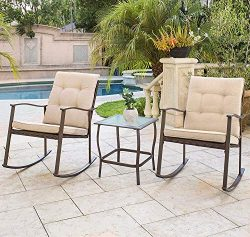 Solaura Outdoor Furniture 3-Piece Rocking Wicker Patio Bistro Set Brown Wicker with Beige Cushio ...