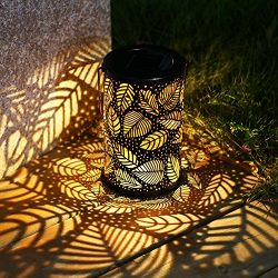 TAKE ME Solar Lantern Lights Outdoor,Garden Hanging Lights Metal Leaf Pattern Lights Lamp for Pa ...