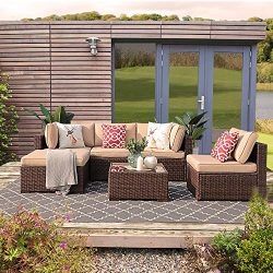 Patiorama 6PC Outdoor Conversation Set, All Weather Wicker Patio Sectional Sofa Set with Corner  ...