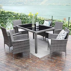Wisteria Lane Outdoor Patio Dining Set,7 Piece Wicker Furniture Seating Conversation Rattan Chai ...