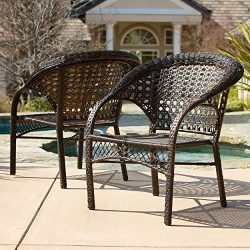 Christopher Knight Home 278762 Malibu Furniture ~ Outdoor Wicker Stacking Patio Dining Chair (Se ...